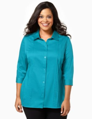 Silky Button-Front Shirt