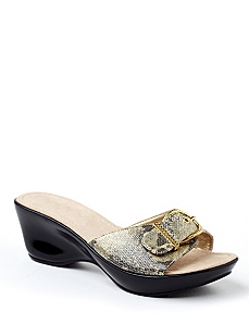 Snakeskin Buckle Wedge
