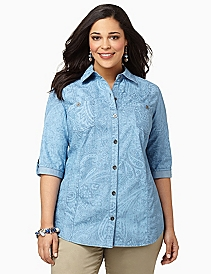 Denim Paisley Buttonfront