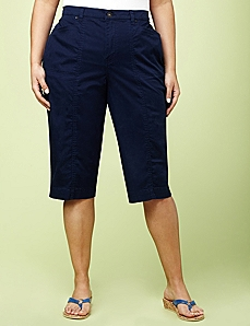 Secret Slimmer® Woven Capri by CATHERINES