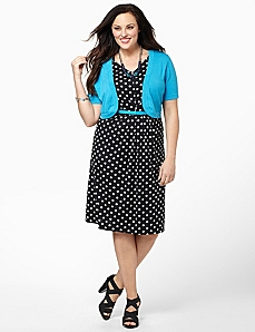 Polka Dot Dress & Shrug by CATHERINES