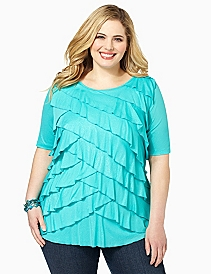 Ruffle Tier Mesh Top