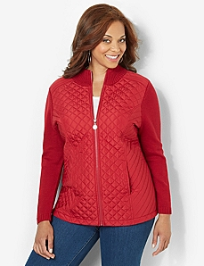 Quilted Zip Jacket by CATHERINES