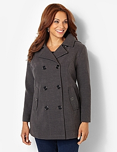 Peacoat With Removable Hood by CATHERINES