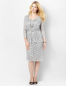 Shimmer Lace Jacket Dress by Catherines