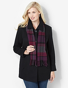 Plaid Scarf Peacoat by CATHERINES