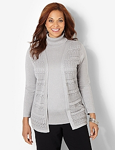 Pointelle Shimmer Cardigan by CATHERINES