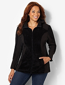 Plush Zip Jacket by CATHERINES
