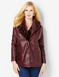 Autumn Faux Leather Jacket by CATHERINES