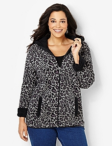 Fleece Leopard Jacket by CATHERINES