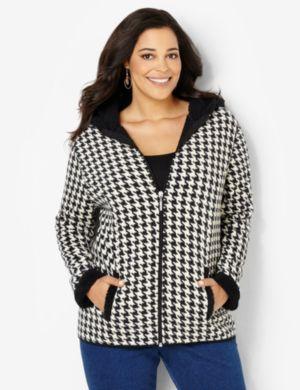 Fleece Houndstooth Jacket