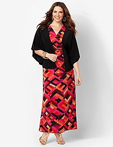 Abstract Splash Maxi & Jacket by Catherines