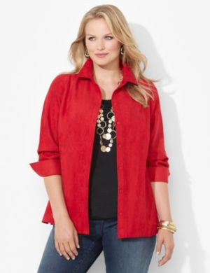 Sueded Buttonfront Top