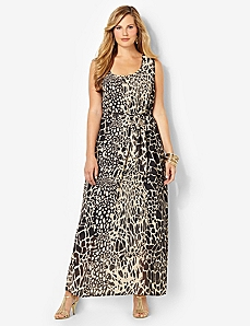 Animal Motif Maxi Dress by Catherines