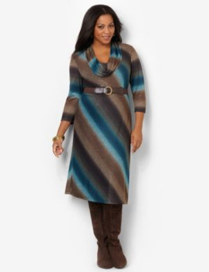 Cowlneck Striped Dress