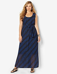Chiffon Dots Maxi Dress by Catherines