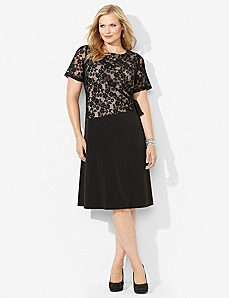 Cinched Lace Dress by CATHERINES