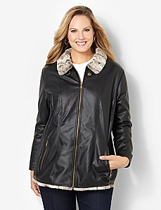 Faux Fur Lined Jacket by CATHERINES