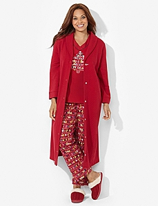 Buttonfront Quilted Robe by CATHERINES