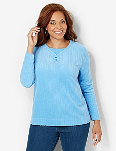 Brushed Fleece Top by CATHERINES