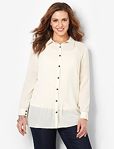 Tuxedo Pintuck Blouse by CATHERINES