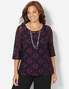 Poinsettia Lace Top