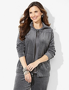 Luxe Touch Velour Jacket by CATHERINES