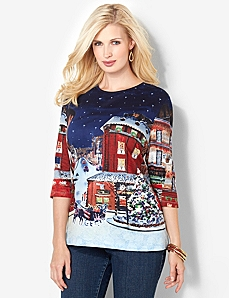 Christmas Village Tee by CATHERINES