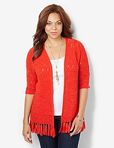 Festive Fringe Cardigan by CATHERINES