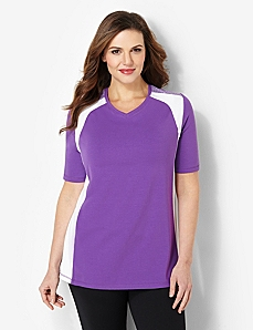 Stretchy V-Neck Tee by CATHERINES