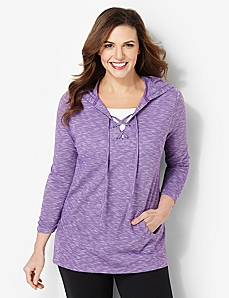 Soft Lace-Up Pullover