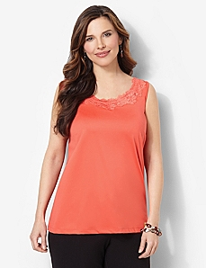 Lace Trim Tank by CATHERINES