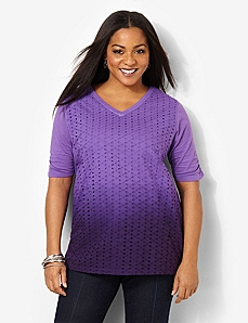 Dip-Dye Eyelet Top by CATHERINES