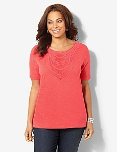Savona Crochet Trim Top by CATHERINES