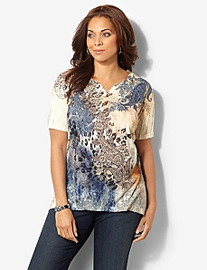 Heritage Paisley V-Neck by CATHERINES