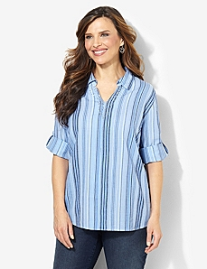 Striped Gauze Shirt by CATHERINES