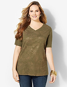 Sea Grass V-Neck by CATHERINES