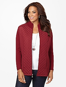 Quilted Knit Sweater