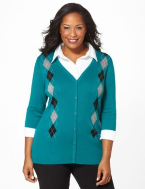 Layered Argyle Cardigan
