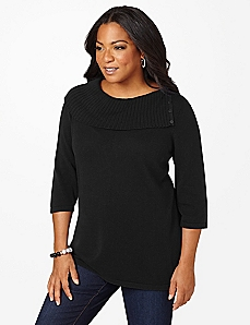 Split Neck 3/4-Sleeve Sweater