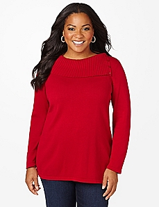 Split Neck Long-Sleeve Sweater