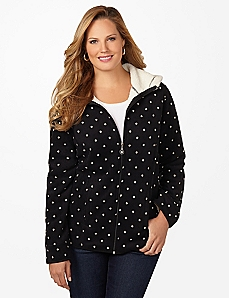 Polka Dot Riverside Fleece Coat