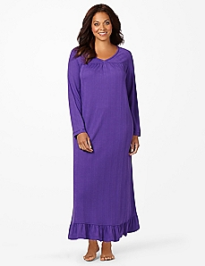 Satin Trim Pointelle Sleep Gown