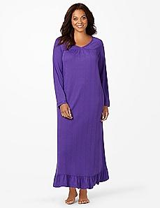Satin Trim Pointelle Sleep Gown