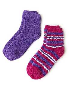 Plush Double Stripe & Solid 2-Pack Socks
