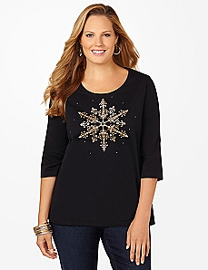 Snowflake Sparkle 3/4-Sleeve Tee