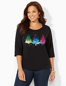 Sequin Trees Tee