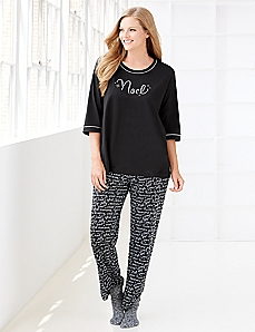 Noel Print Pajamas