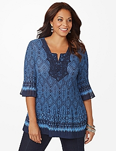 Diamonds & Crochet Pleated Top