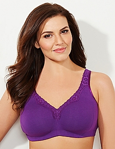 Plum No-Wire Cotton Comfort Bra